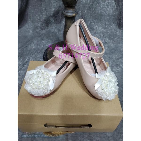 女童粉色珍珠鞋仔-KA014
