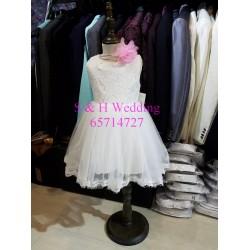 白色簡約花女裙-KG018