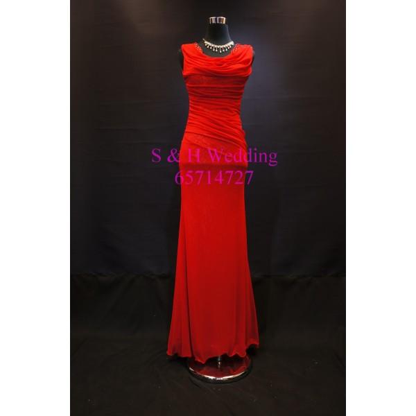 紅色修身晚裝裙 WE001  (全新購買價)