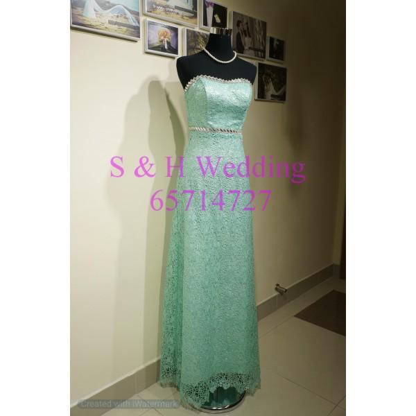 粉綠色厘士晚裝裙 WE008  (購買價,曾出租)