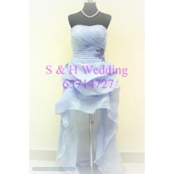 XS碼粉紫色前短後長晚裝裙 WE010  (購買價,曾出租1次)