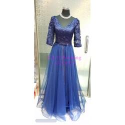 藍色中長袖晚裝裙 WE012  (全新購買價)