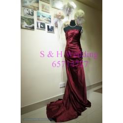 紅色拖尾晚裝裙 WE014  (全新,購買價)