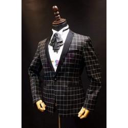 黑色格仔西裝外套 MT015 (購買價,曾出租)