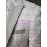 新郎白色閃邊暗花西裝禮服 MT026 (租用或購買)