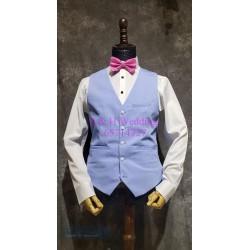 粉藍色西裝 (馬甲+五分西褲) MS004 (購買)