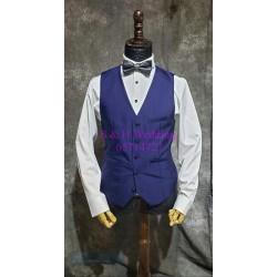 深藍色暗格紋西裝 (馬甲+五分西褲) MS005 (購買)