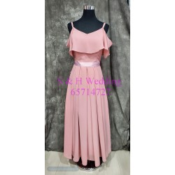 (度身訂造) 粉裸色雪紡姊妹裙 SS030
