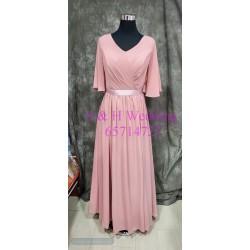 (度身訂造) 粉裸色有袖雪紡姊妹裙 SS031