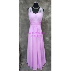 (度身訂造) 粉紫色雪紡姊妹裙 SS032
