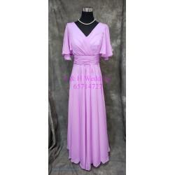 (度身訂造) 粉紫色有袖雪紡姊妹裙 SS033